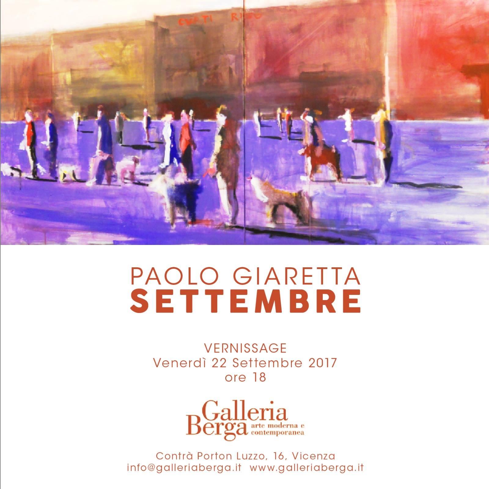 """Vernissage """"Paolo Giaretta – Settembre"""""""